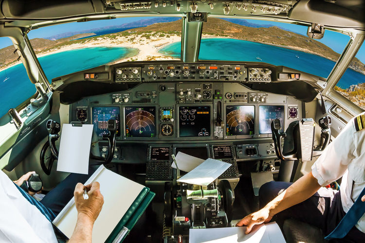 High angle view of airplane cockpit
