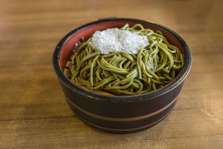 Cold noodles Freshness Food And Drink Healthy Eating Wellbeing Food Table Bowl Indoors  Wood - Material No People Still Life Close-up High Angle View Asian Food Ready-to-eat Japanese Food Focus On Foreground Crockery Soba Cold Noodles