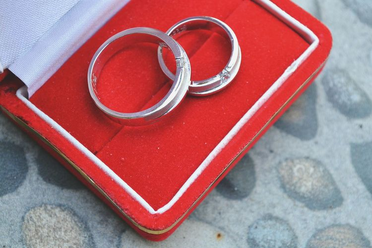 High angle view of wedding rings in box on table