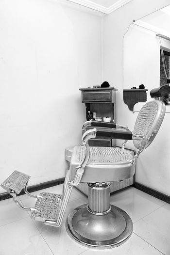 Barber Barbershop Black And White Blackandwhite Bw Chair Indoors  Man Made Object Old Technology Vintage
