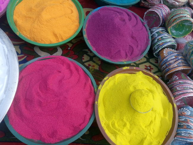 Art And Craft, Choice Circle Day Diwali For Sale Holi Horizontal Indian Culture, Merchandise Multi Colored No People Outdoors Powder Paint Religion Retail  Variation Yellow