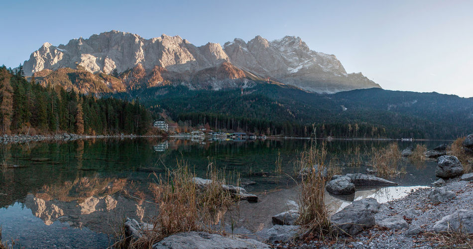 Scenic view of river against zugspitze
