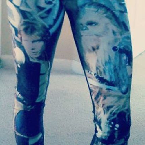Got These in the mail....coolest legging I've had EVER! Starwars Chewbacca HansSolo Leggings awesome