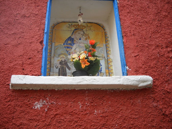 2012 Architecture Built Structure Casamicciola Close-up Day Ischia Island Madonna And Child No People Outdoors Red Red And Blue Religion Spirituality Votive Chapel