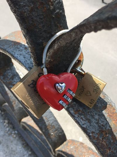 Red Day Protection Heart Shape Love Security Safety High Angle View No People Positive Emotion Emotion Padlock Lock Outdoors Hanging Close-up Nature Sunlight Love Lock Metal