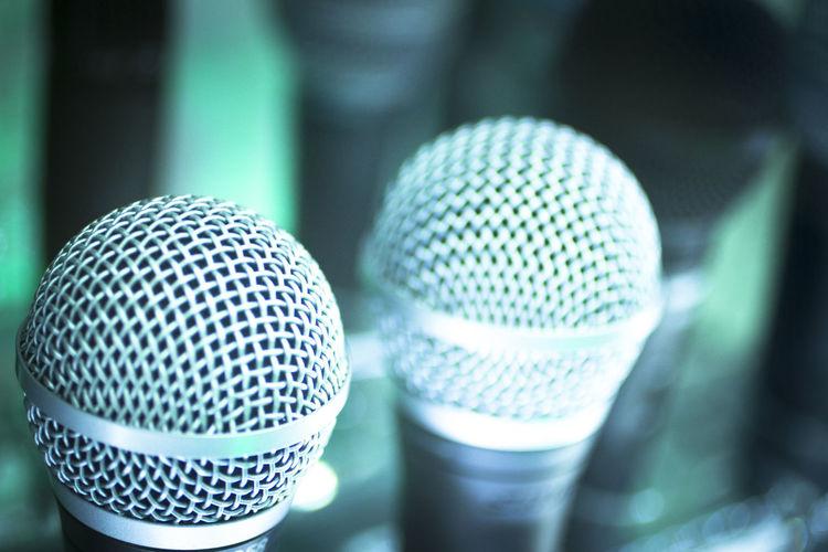 Close-up of microphones in studio