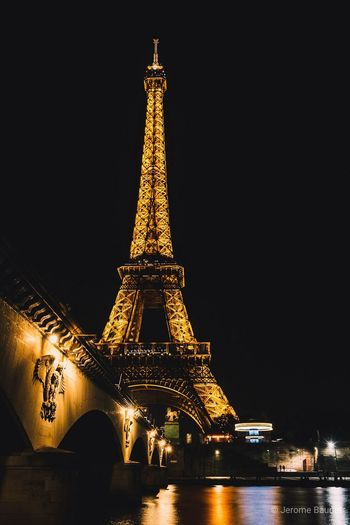 Eiffel Tower Nightphotography France Paris Paris, France  City Cityscape Urban Skyline Illuminated Business Finance And Industry History Gold Colored Cultures Tower Monument