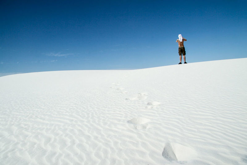 Clear Sky Day Landscape National Park Nature New Mexico One Person Outdoors Standing Sunlight White Sands