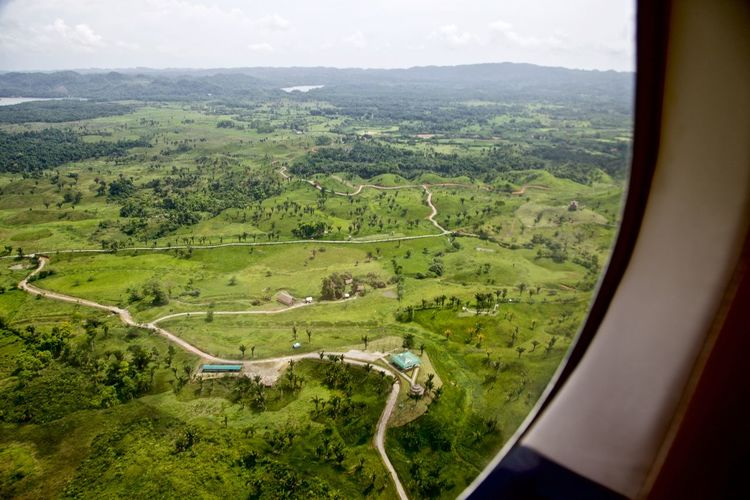 Green landscape seen through airplane window
