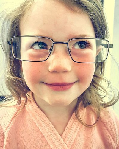 Portrait of a Future Clevercloggs Smartypants Brainbox little Genius with Daddies  Glasses on. Colour Color