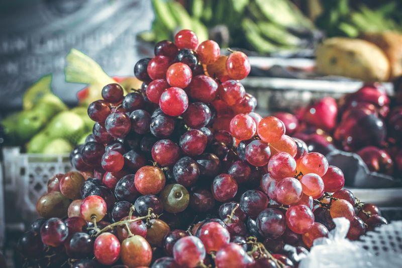 Close-Up Of Grapes At Market