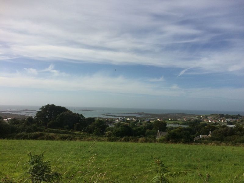 Beautiful Guernsey countryside looking out to sea Guernsey Channel Islands Island St Saviours Tourism Summer Holiday Destination Travel Landscape Sky Tranquil Scene Field Sea Tranquility Green Beauty In Nature Grass Nature Cloud Horizon Over Land Idyllic Rural Scene Cloudy Grassy Outdoors