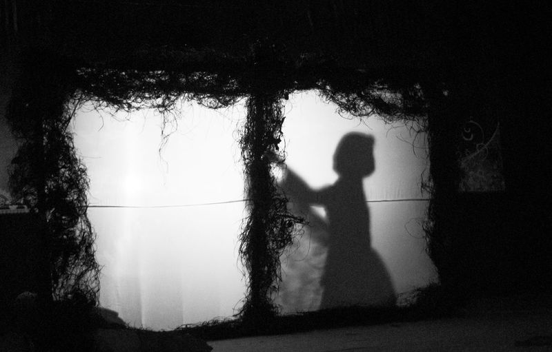 Shadow of woman on illuminated fabric
