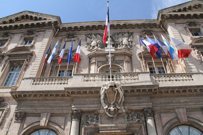 Marseille city hall Architecture Building Exterior Built Structure City Hall Façade Famous Place Flag French Flag Historic Low Angle View Marseille