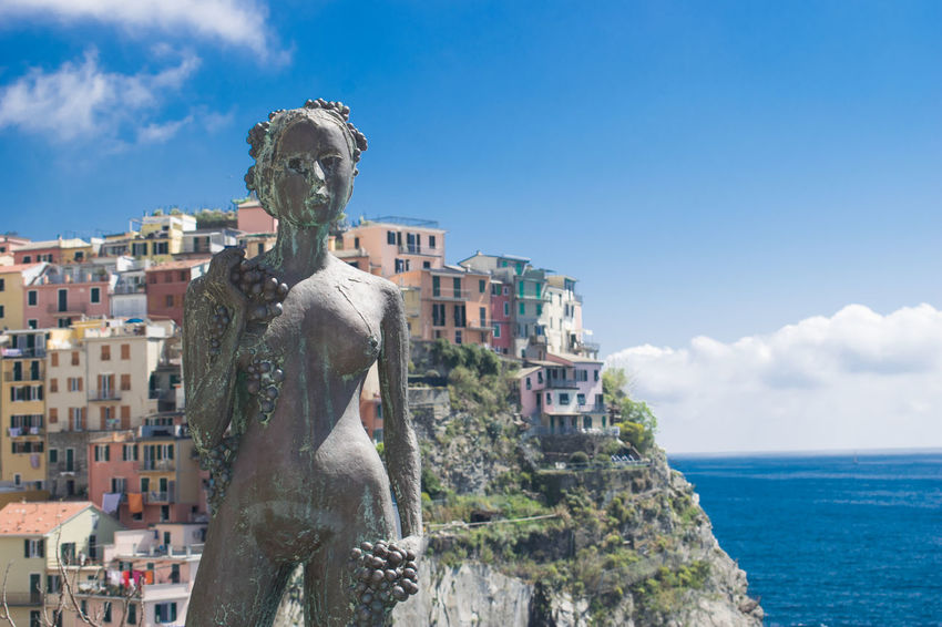 Beauty Cinque Terre Clouds Italy Liguria Manarola Nature Sea Sky Statue Statues And Monuments View Village