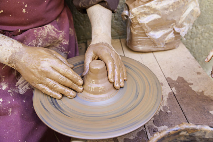Art And Craft Pottery Human Hand Spinning Craft Hand Occupation Clay Skill  Molding A Shape Working Creativity Making One Person Dirt Human Body Part Mud Expertise Motion Craftsperson Preparation  Outdoors