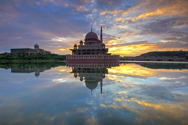 Reflection of temple in water