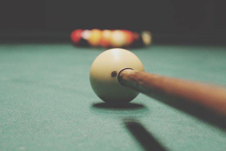 Billiard balls set up for breaking shot
