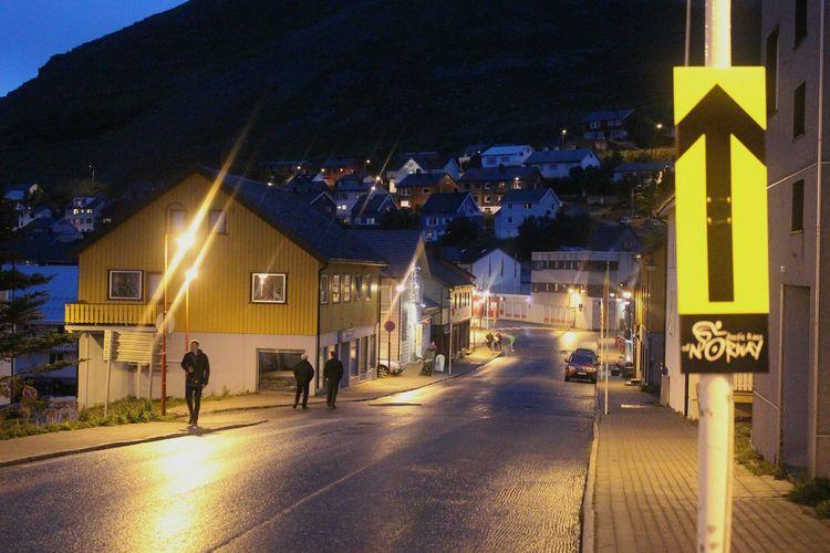 the arrow. Honningsvag Norway Mountain Light Lantern Cityscape Outdoors Streets Summernight