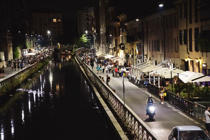 Movida Milanese Naviglio Milano Streetphotography Illuminated City Land Vehicle Car Water High Angle View Architecture Built Structure Building Exterior