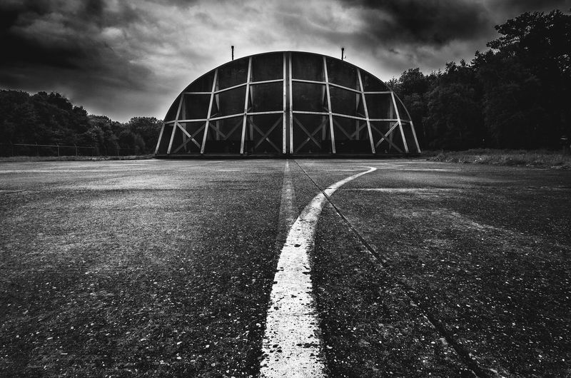 Former NATO airbase Soesterberg. Architecture Black & White Bunker NATO Runway Soesterberg Airbase Airport Architecture Black And White Blackandwhite Built Structure Cloud - Sky Military Road Sky Soest