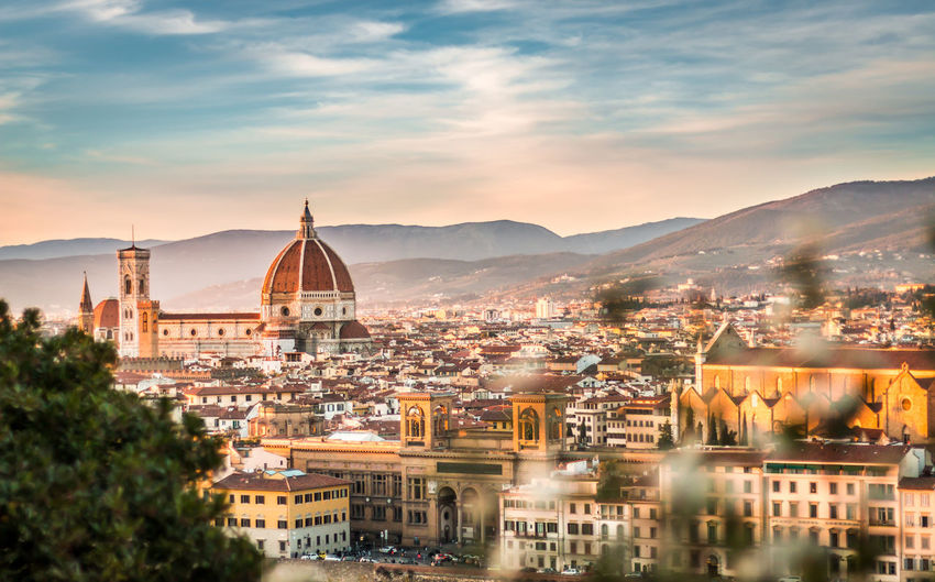 View Of Florence Cityscape Against Sky