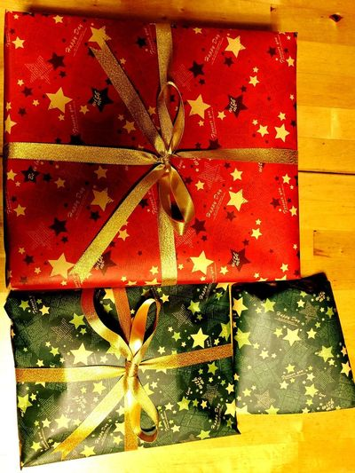 Christmas Presents  Indoors  Close-up Full Frame No People Pattern Red Gold Colored