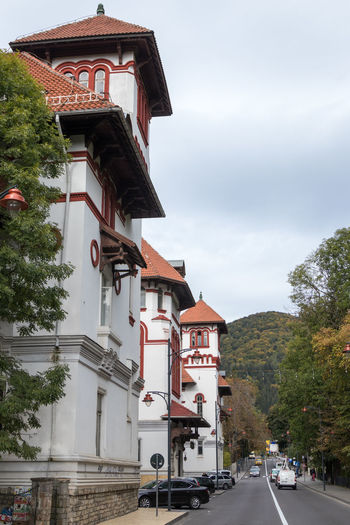 Sinaia, Romania, October 05, 2017 : Boulevard of Carol the First in Sinaia city in Romania Castle City Lifestyle Modern Road Romania Shopping Sidewalk Sinaia Travel Architecture Building Building Exterior Culture Day Europe Historic Landmark Peles People Restaurant Street Style Tourism Urban