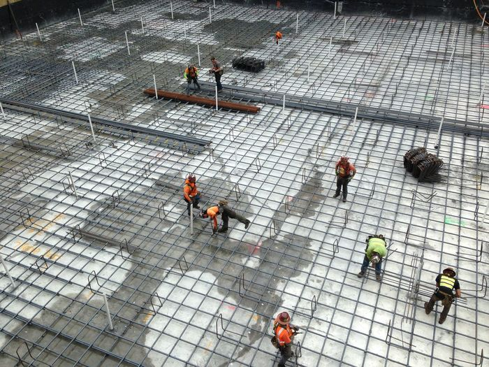 Construction Concrete Floor Steel Rebar Ironwork  rod buster industrial Work