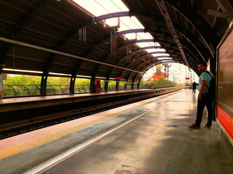 Full Length Men Railroad Station Platform Railroad Track Railroad Station Walking Rail Transportation Women Standing Architecture