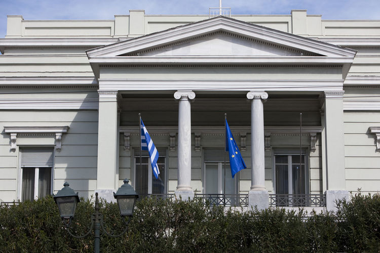 Architecture Athens Building Exterior Built Structure European Flag Exterior Famous Place Flags Geometry Greece Greek Flag History Ministry Of Foreign Affairs Symmetry Urban
