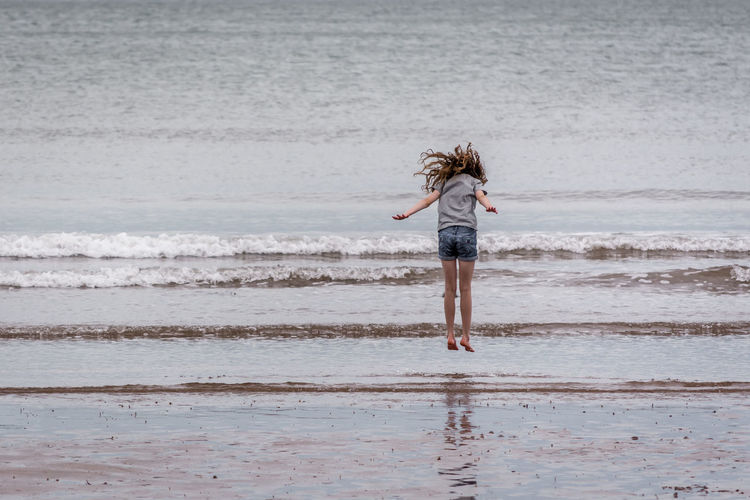 Full length of person standing on beach