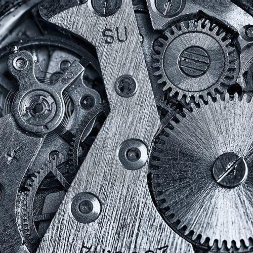 Close-up of clock mechanism