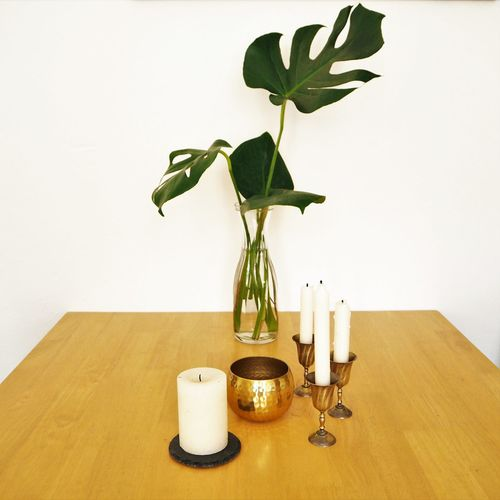 Candles Decoration Home Interior Indoors  Leaf Monstera Plant Plant Part Table Vase Wood - Material