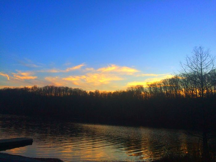 Yellow wood state forest, Nashville Indiana Day Idyllic Cloud - Sky Tree Silhouette Reflection No People Outdoors Sky Lake Scenics Nature Beauty In Nature Water Tranquil Scene Tranquility Sunset Sunset_collection Sunrise_sunsets_aroundworld Evening