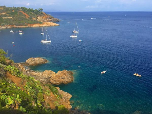 Sea Water Nautical Vessel High Angle View Beauty In Nature Scenics Tranquil Scene Nature Boat Transportation Tranquility Horizon Over Water Mode Of Transport No People Day Ship Outdoors Sailing Yacht Sailboat Italy Porto Azzurro Isola D'Elba
