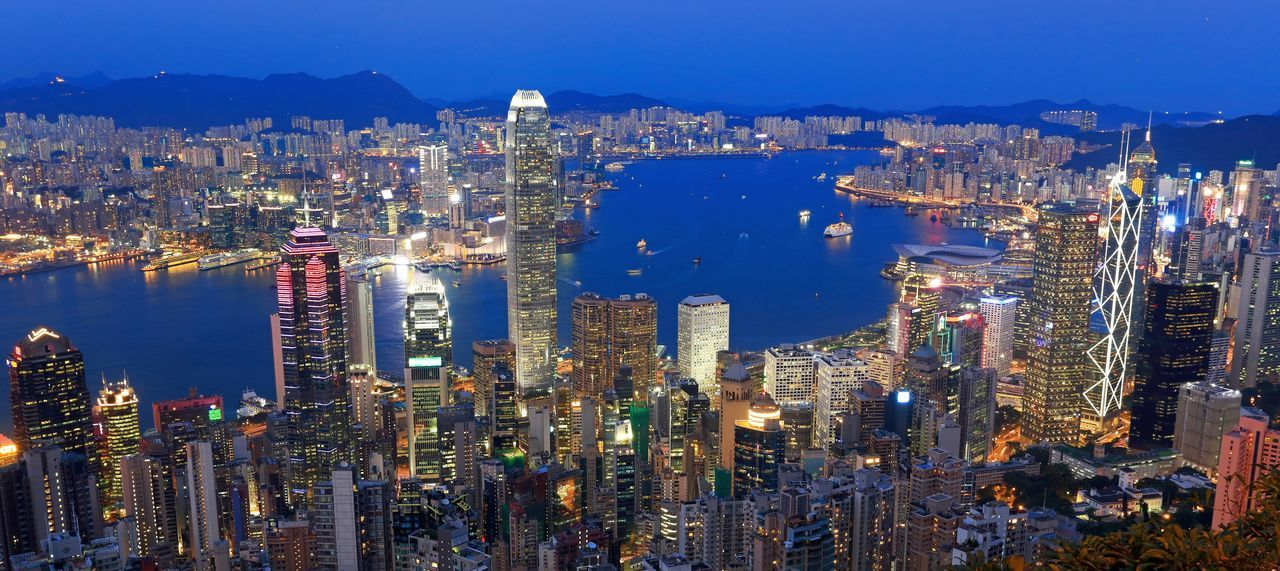 Architecture Blue Building Exterior Built Structure City Cityscape Crowded Financial District  Hong Kong Architecture Hong Kong City Hong Kong Peak Hong Kong Skyline Modern Night Office Building Skyscraper Tower Travel Destinations Urban Skyline