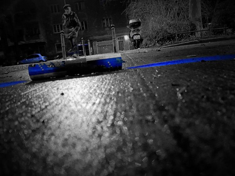 Asphalt Blackandwhite Photography Blackandwhite Colored Lost Paint Paintphotography  Blue Urbex Urbexphotography No People Outdoors Shadow Spraying Close-up