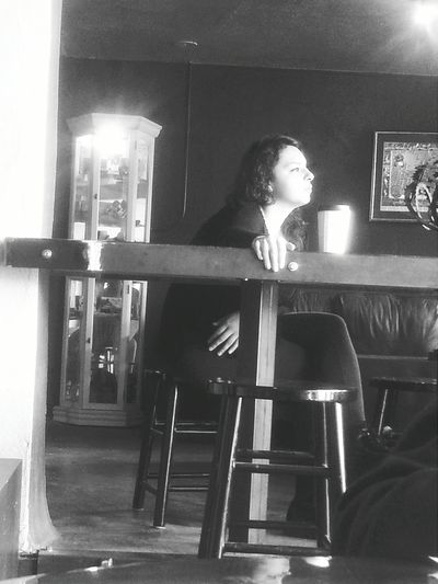 I admire her beauty from afar. Coffee Shop The806 Natural Beauty Blackandwhite Portrait