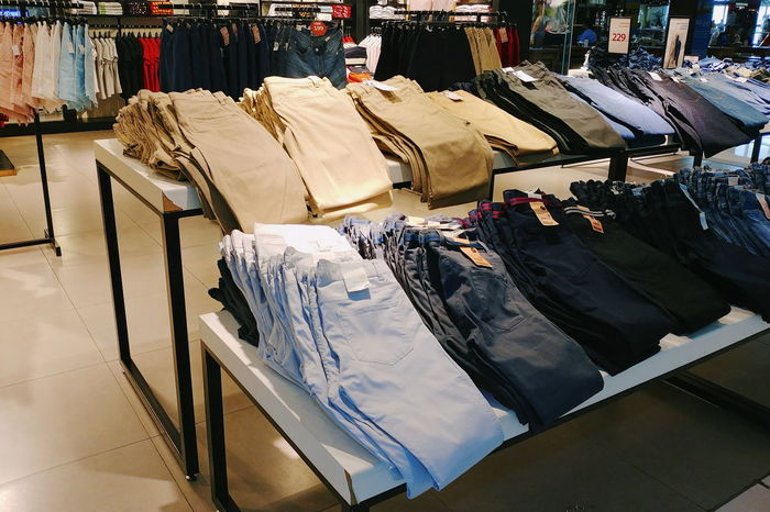 garment Garment Pants Clothes Rack Fashion Retail Display Retail  Shopping Mall No People