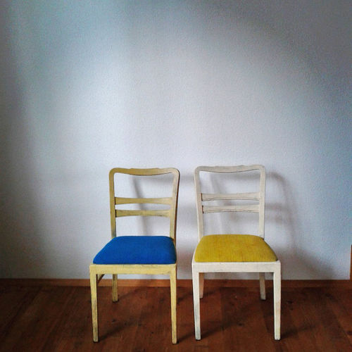Empty chairs in a row