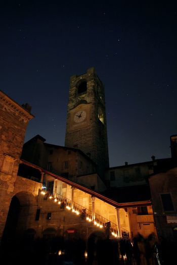 Piazza vecchia Night Building Exterior Architecture Built Structure Illuminated Building Sky History Star - Space Tower The Past Space Astronomy Fort Low Angle View Travel Destinations Nature Old Outdoors Medieval