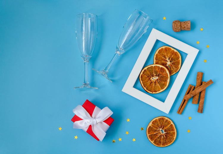 High angle view of drink on table against blue background