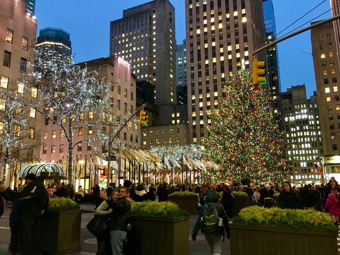 Large Group Of People Night Crowd City Illuminated Architecture Celebration Building Exterior Real People Built Structure City Life Outdoors Women Men People Sky Adult Adults Only Rockefeller Center Holidays NYC NYC Street Photography EyeEm Ready