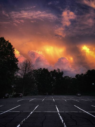 The edge of the storm ... Urban Landscape Tadaa Community Sky Cloud - Sky Tree Symbol Sunset Plant Road Nature Orange Color Outdoors Dusk Empty