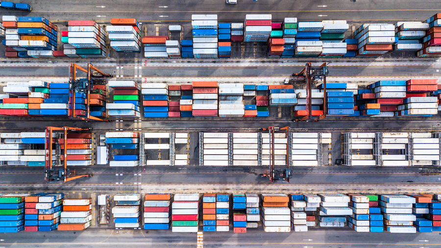 High Angle View Of Container Ship At Commercial Dock
