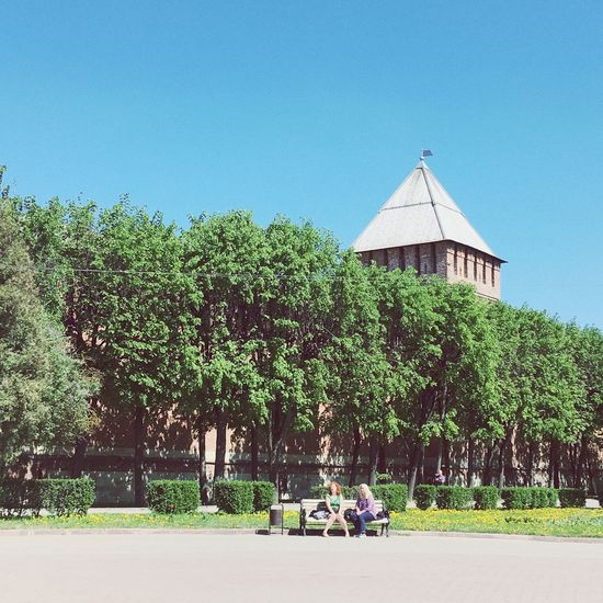 Смоленск ❤️ Building Exterior Built Structure Tree Plant Architecture Sky Building Nature No People Place Of Worship Green Color Sunlight Religion Day Clear Sky Growth Hedge Outdoors Blue History