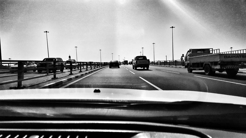 Car Land Vehicle Transportation Street Light Mode Of Transport Stationary Outdoors Sky No People Day Qatar Airways Qatar National Day Galaxy Qatarphoto1 12daysofeyeem Goodmorning :) Black White