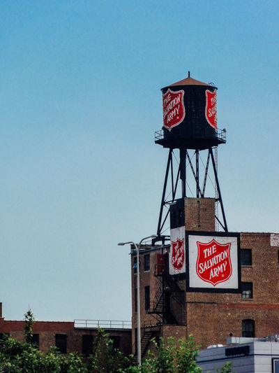 Architecture Blue Built Structure Day No People Red Salvation Army Water Tank
