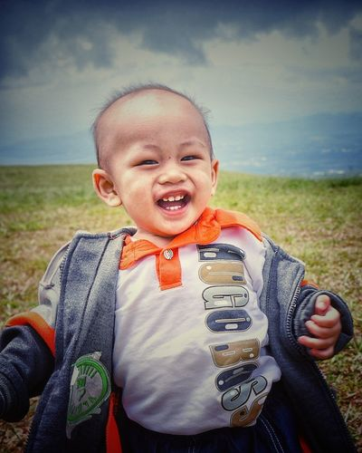 baby smile Baby Babyboy Happy Happiness Smile One Person Childhood Child People Portrait Boys Front View Outdoors Looking At Camera Day Close-up Sky Grass Males  Rural Scene